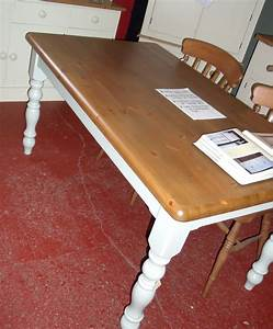 4ft, Pine, Farmhouse, Table, Waxed, And, Painted, With, Turned, Legs