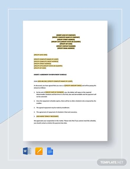 simple agreement letter examples  word examples