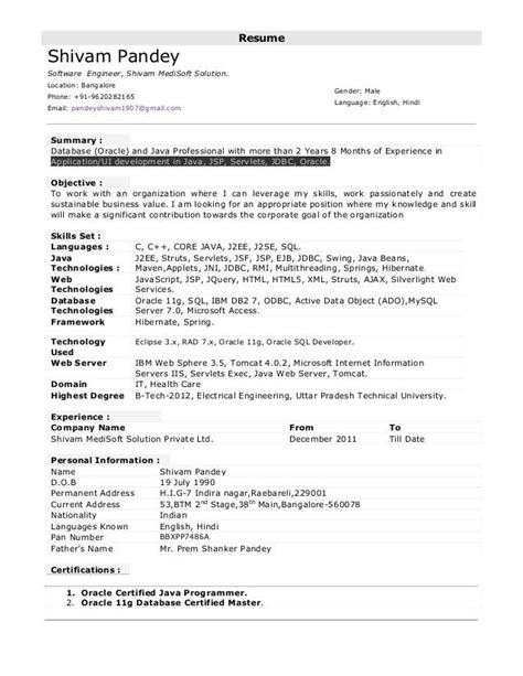 Resume Format For Post by 8 Years Experience 3 Resume Format Sle Resume