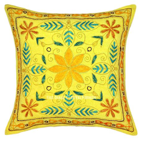 boho pillow covers yellow embroidered boho style throw pillow cover