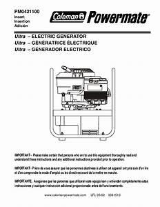 Coleman Powermate Pm0421100 Generator Owners Manual