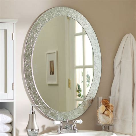 Framed Oval Bathroom Mirror by Oval Frame Less Bathroom Vanity Wall Mirror With