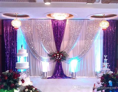 gold ice silk wedding backdrops  swag stage background