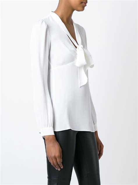 michael kors blouse michael michael kors bow blouse in white lyst