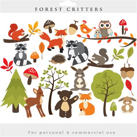 Cute Baby Forest Animals Clipart