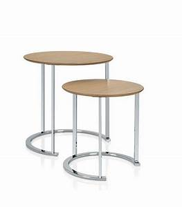 Table Basse Design Bois : set de 2 tables basse design rondes en bois et chrome ~ Teatrodelosmanantiales.com Idées de Décoration