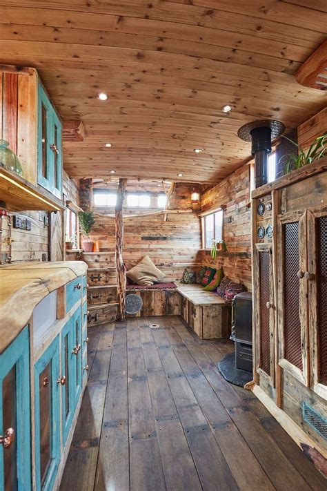 horse trailer  converted   cozy  rustic tiny house tiny house interior