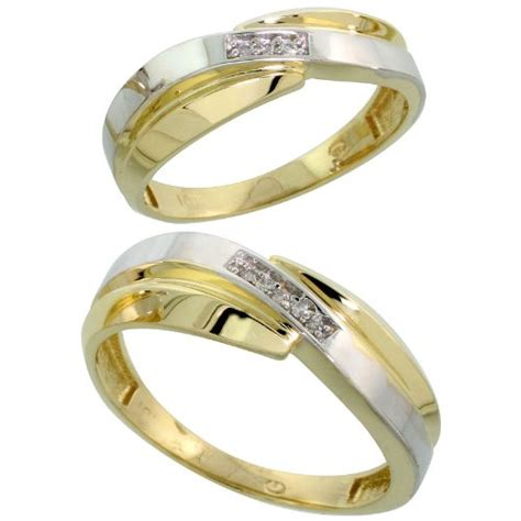 10k yellow gold diamond wedding rings for him 7 mm and 6 mm 2 piece 0 05 cttw brilliant