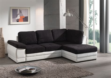canap駸 modernes contemporains canapé d 39 angle contemporain convertible en tissu coloris noir blanc salon