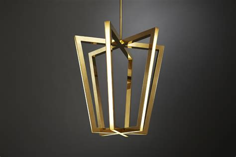 Lighting :  A Family Of Geometric Brass Chandeliers