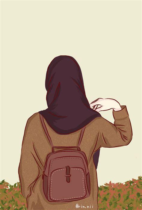 Hijab Girl Cartoon Wallpapers Wallpaper Cave