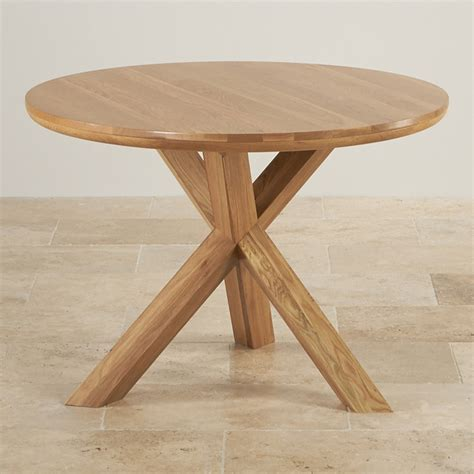 3 foot round table trinity natural solid oak round table with crossed legs