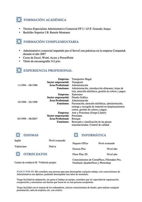A Cv by Curr 237 Culum Vitae Modelo Azules Tienda De Curriculum Vitae