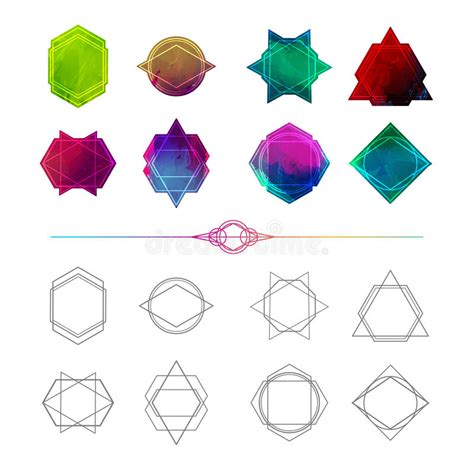 Abstract Minimalist Geometric Shapes by Set Minimalist Abstract Geometric Shapes Symbols Stock