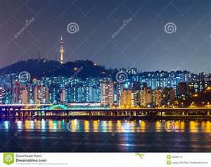 Seoul city skyline stock photo. Image of mountain, korean ...