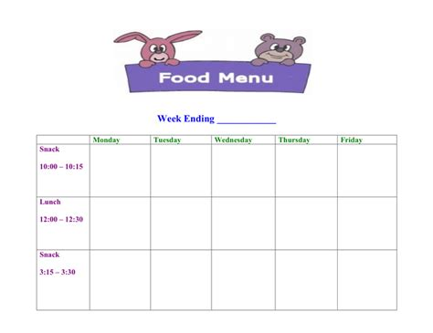 daycare food menu template  word   formats