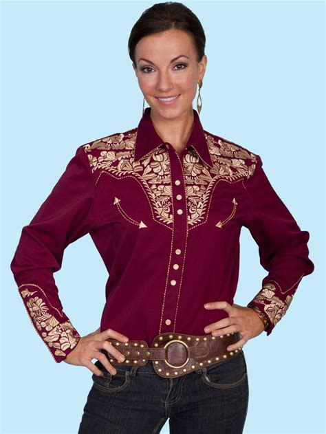 scully and scully ls scully womens burgundy and gold embroidered yoke ls