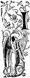 Decorative Letter I with Angel Playing Harp | ClipArt ETC  I
