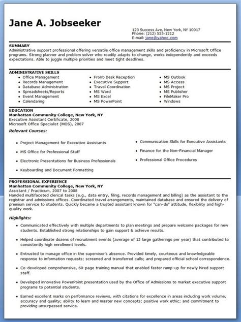 12925 professional administrative resume exles 25 best ideas about administrative assistant resume on