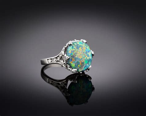 Opel Rings by Estate Jewelry Co Black Opal Ring M S Rau