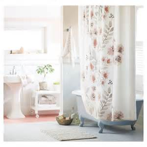 flat weave shower curtain coral blooms 72 quot x72