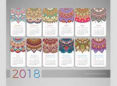 Calendrier 2018 éléments décoratifs vintage motif