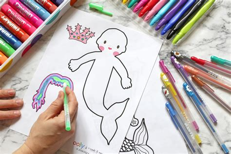 printable diy mermaid monster coloring game