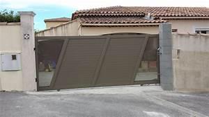 Portail Coulissant En Pente : portail en aluminium t le perfor e design coulissant ~ Premium-room.com Idées de Décoration