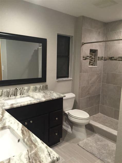 bathroom remodel  greige tones brown fantasy granite
