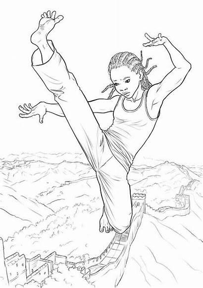 Karate Coloring Kid Pages Play Drawing Getdrawings