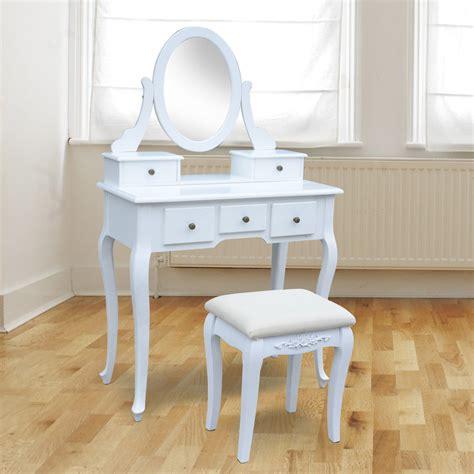 Tisch Mit Hocker by Homcom Schminktisch Mit Ovalem Spiegel Und Hocker Wei 223