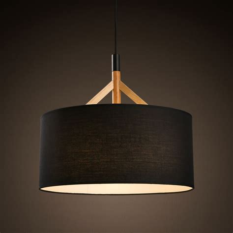 Fabric Shades by Brief Drum Pendant Light Fabric Shade Black In 2018