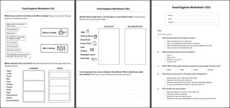 food hygiene worksheets for children in ks1 ks2 ks3