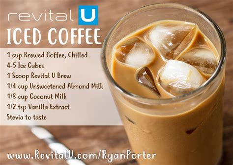 Here are a few of the ways i make my coffee in the morning to start my day off on the right foot. Revital U Iced Coffee Recipe | Coffee drink recipes, Healthy coffee drinks, Coffee recipe healthy