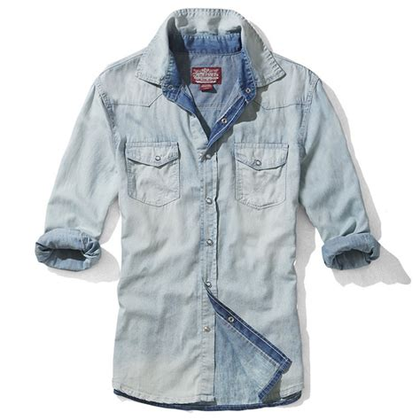 light blue denim shirt mens washed fitted long sleeve denim shirts cw114220