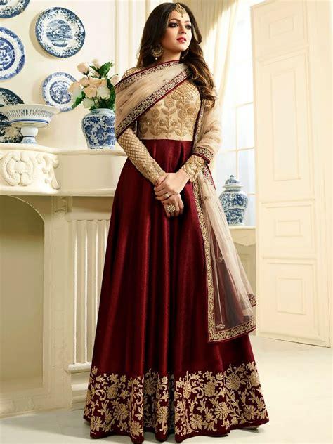 Nitya Drashti Dhami Gown Style Suit in Maroon & Brown