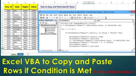 Vba To Copy And Paste Rows If Condition Is Met  Excel Vba Example By Exceldestination Youtube