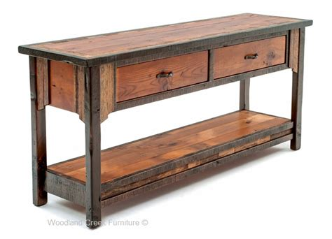 barn wood sofa table western sofa table ranch furniture cabin - Barn Wood Sofa Table