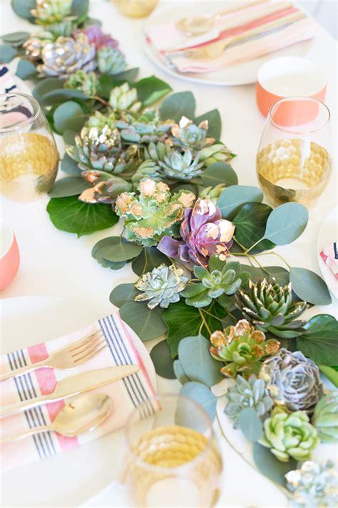 diy mixed metals succulent table runner bespoke bride