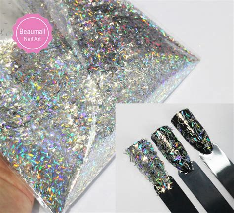 30g 50g ,0.2x1.5mm Size Holographic Laser Glitters Chrome Pigments Glitters Sequins For Nail Art ...