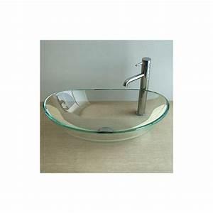 Vasque En Verre Salle De Bain : vasque poser en verre glass 55x36x16 cm ~ Edinachiropracticcenter.com Idées de Décoration