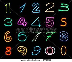 Handwritten Neon Light Alphabets Symbols Stock