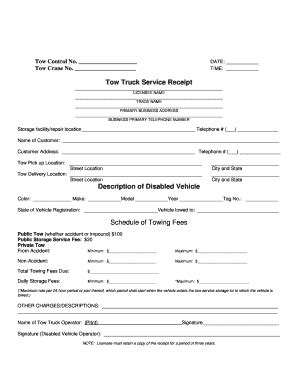 towing bill template fill  printable fillable