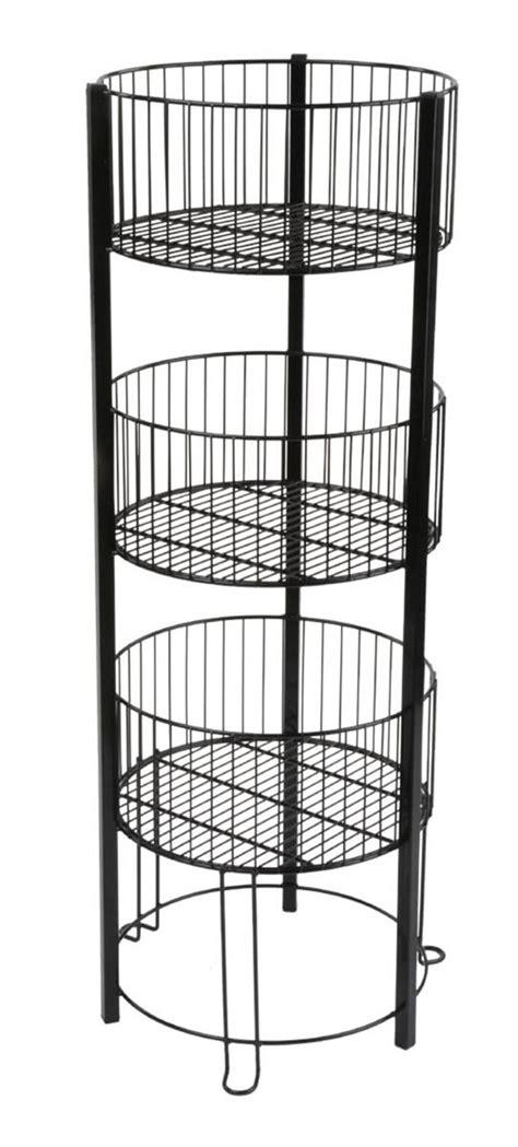 three tier floor l tiered basket floor stand metal standing wire retail bin