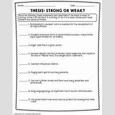 Thesis Statement Worksheet Packet & Printables By Erika