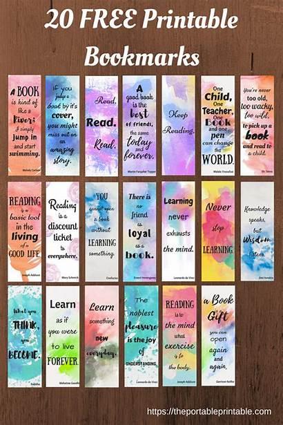 Bookmarks Printable Watercolor Quotes Diy Paper Bookmark