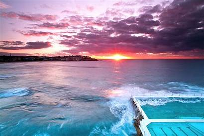 Bondi Beach Sunset Australia Sydney Glorious Very