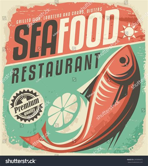 affiche vintage cuisine retro seafood restaurant poster vintage bistro stock vector 295989875