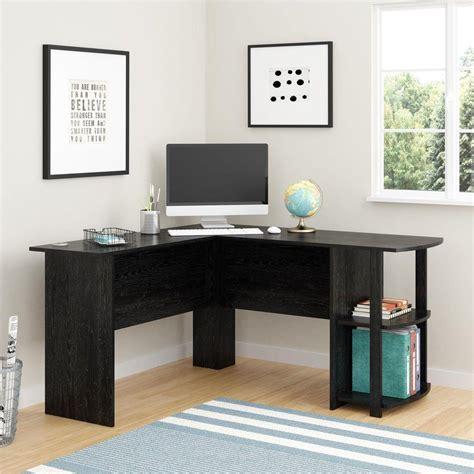 small black corner desk ameriwood corner desk with 2 shelves in black ebony ash