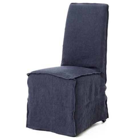 lena modern classic navy blue wrinkle linen slipcover